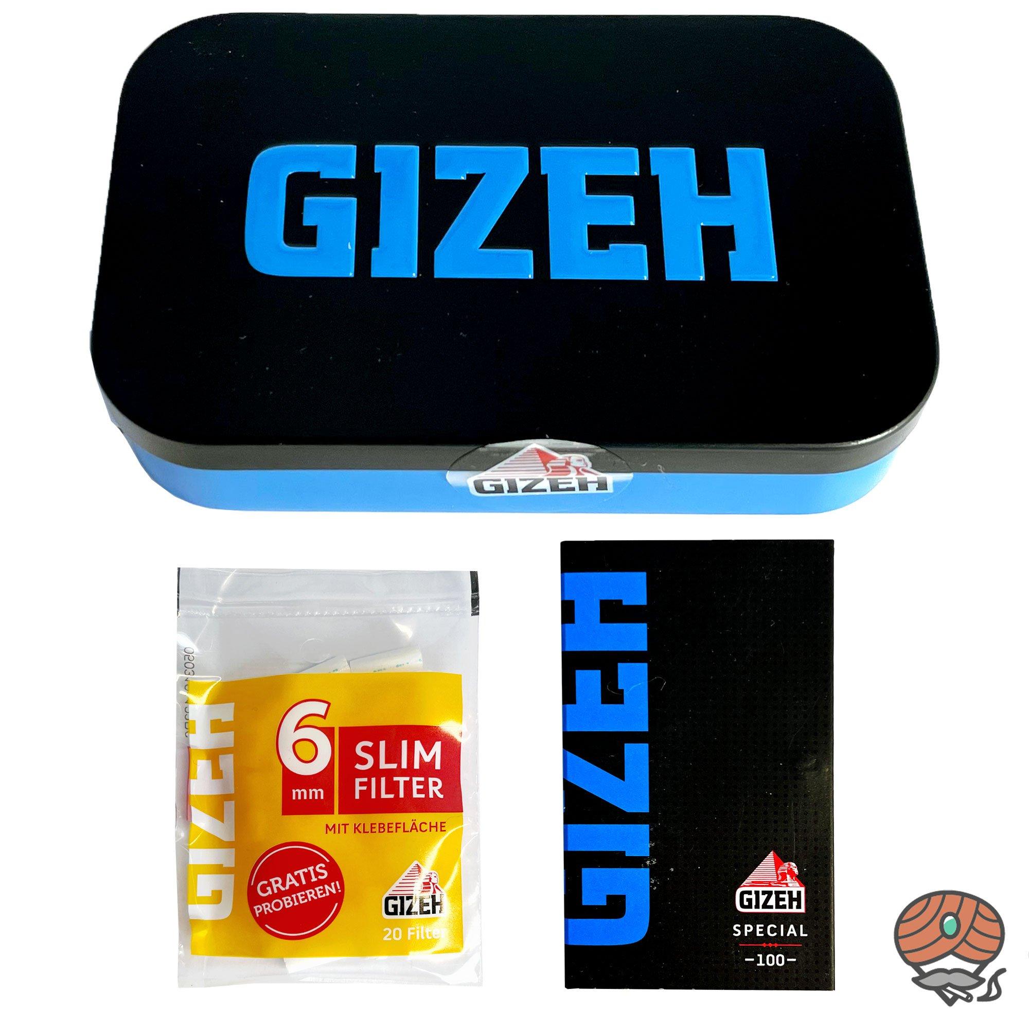 Gizeh Metallbox / Testbox  + Black Magnet Blau / Spezial Blättchen und Slimfilter