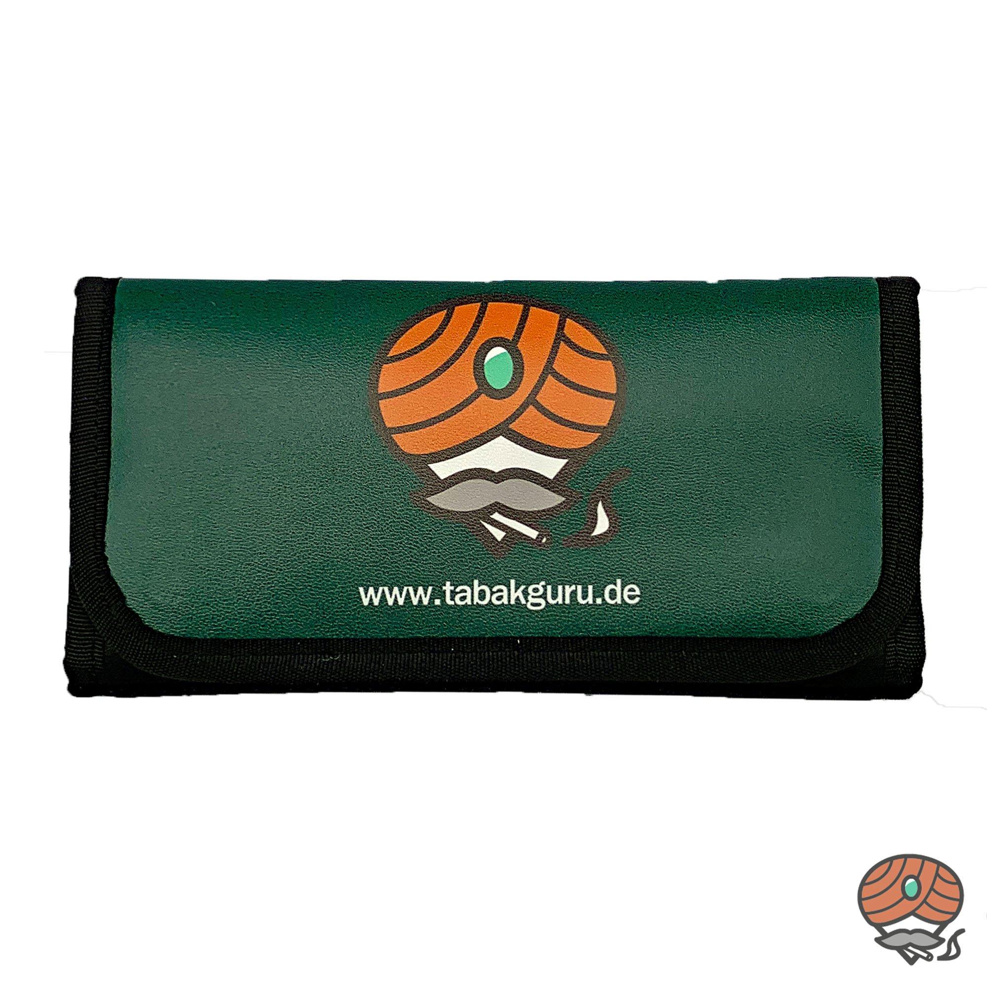 Tabakguru Tabak Beutel / Tasche für Drehtabak und Zubehör Dunkelrgün / Schwarz