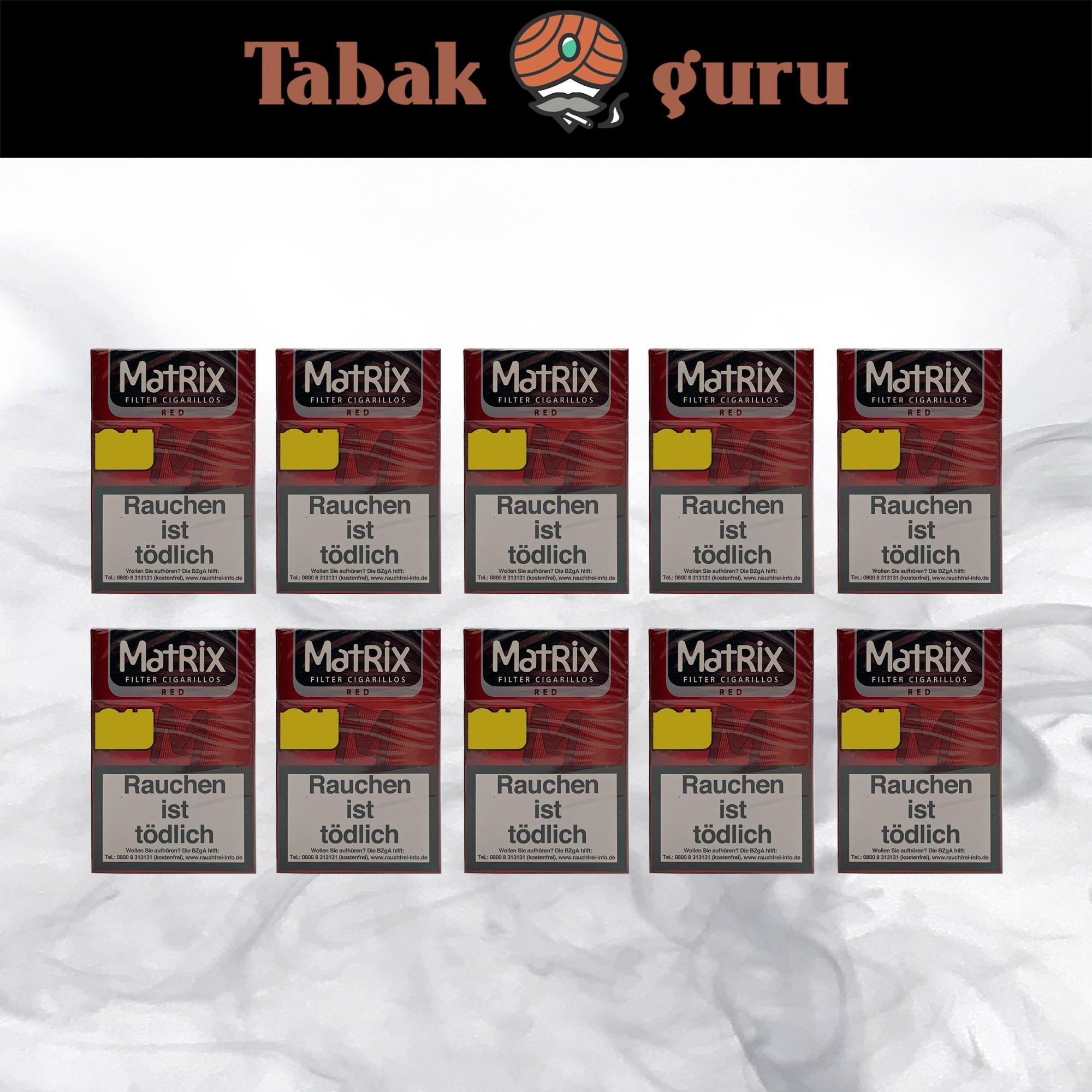 10 x Matrix Red Filterzigarillos a 17 Stück