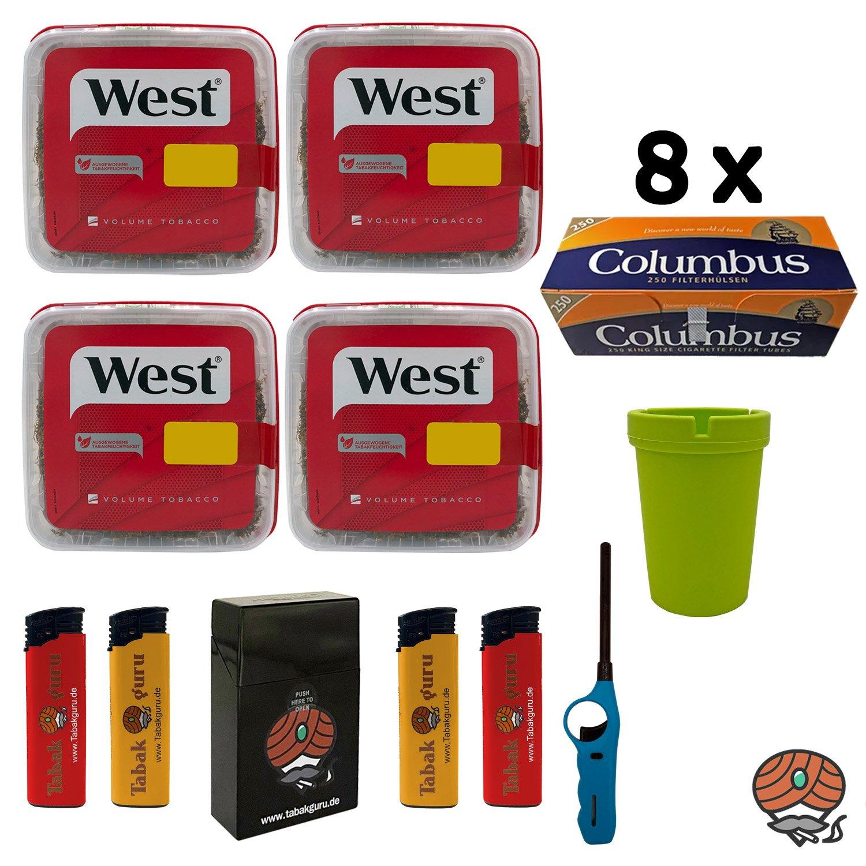 4x WEST Red / Rot Tabak Volumentabak à 170g, 2.000 Columbus Hülsen + Extras