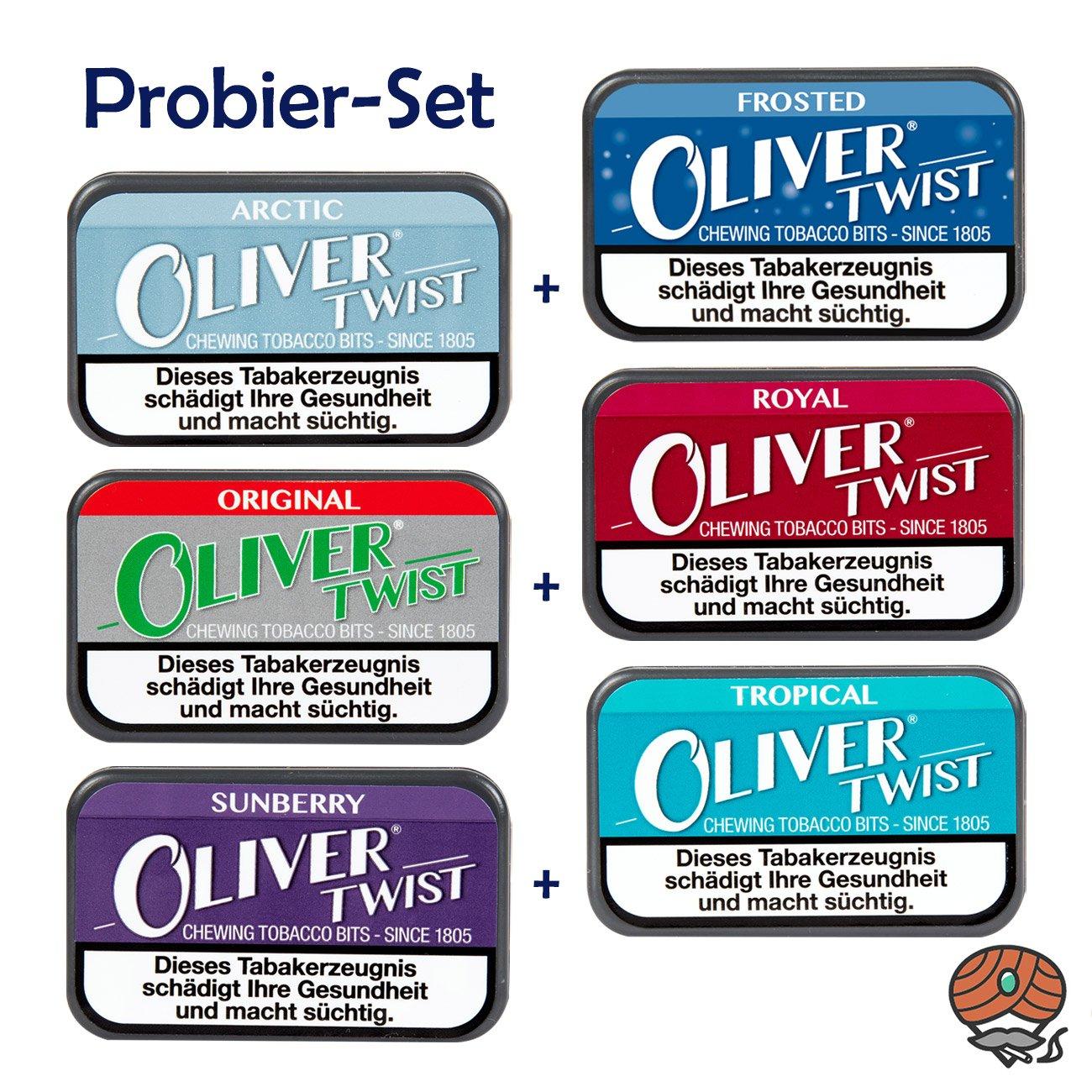 6 Dosen Oliver Twist Tabakpastillen, Kautabak, Chewing Bits, PROBIERSET