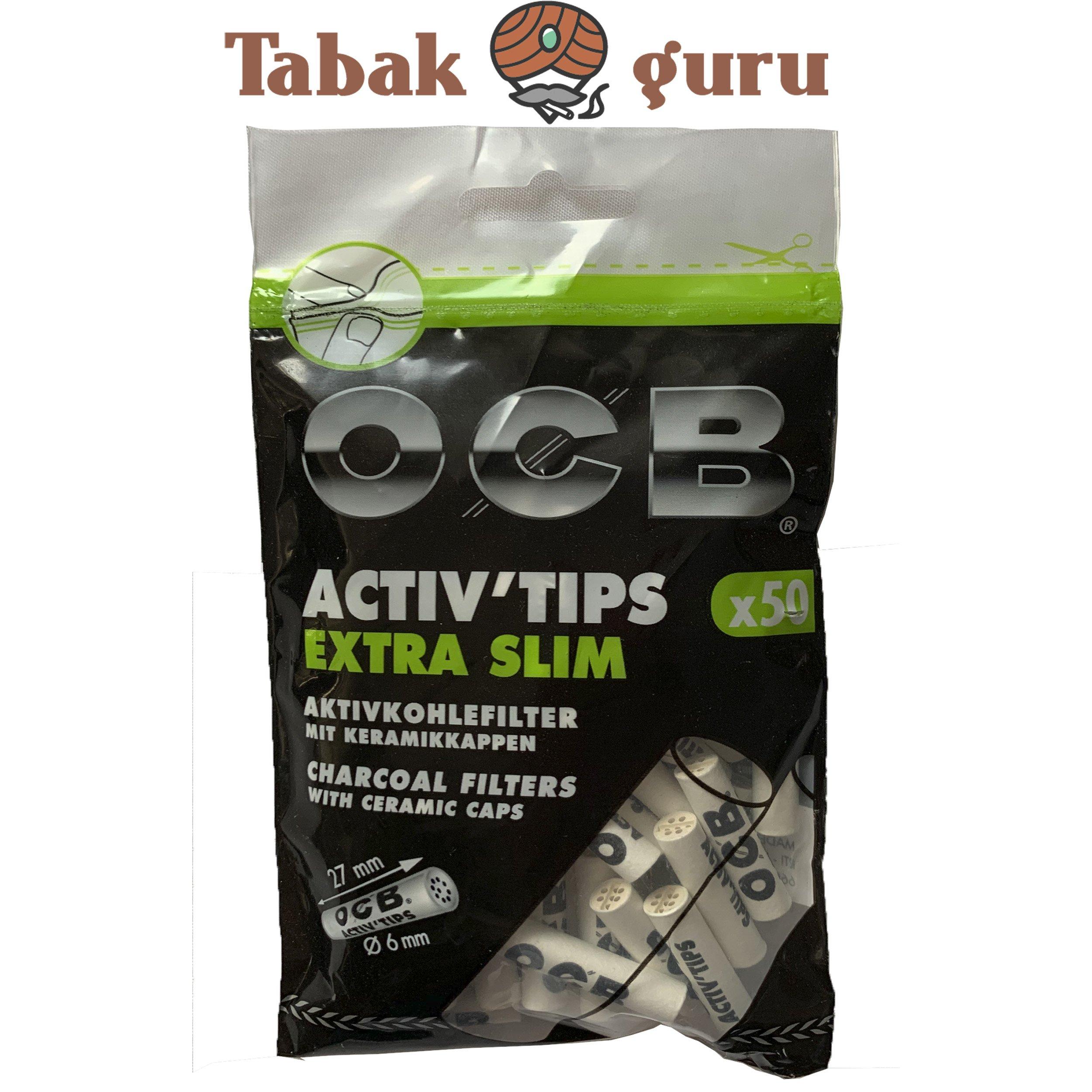 OCB Activ Tips Extra Slim / Aktivkohle-Filter 50 Stück