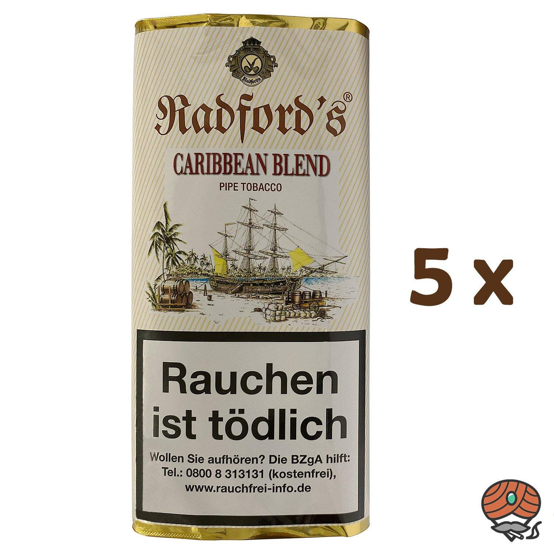 5x Radford´s Caribbean Blend Pfeifentabak Pouch à 50 g (ehem. Old Rum Royal)