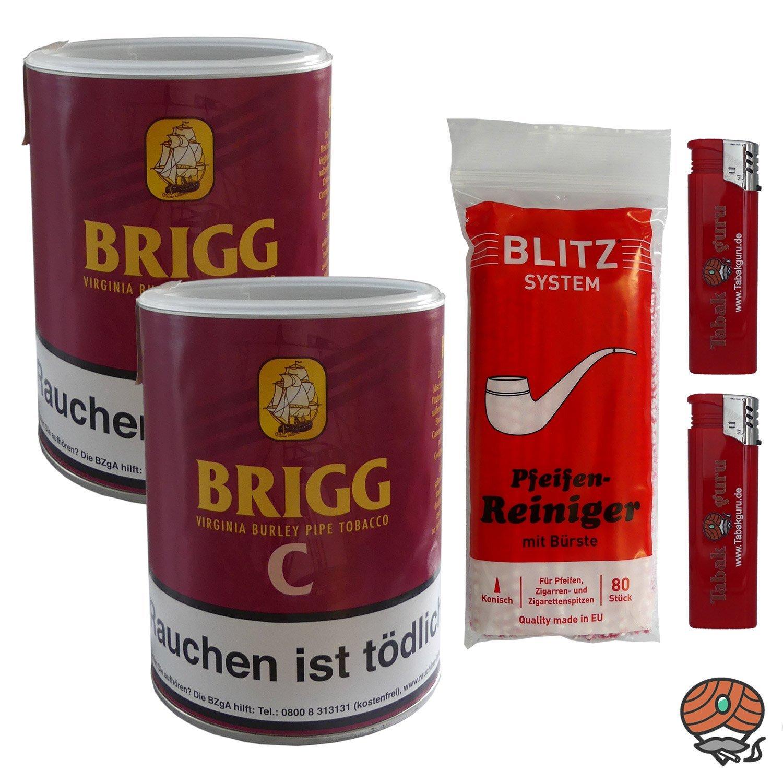 2 x Brigg C (Cherry) 160g Dose Pfeifentabak + Pfeifenreiniger + Feuerzeuge