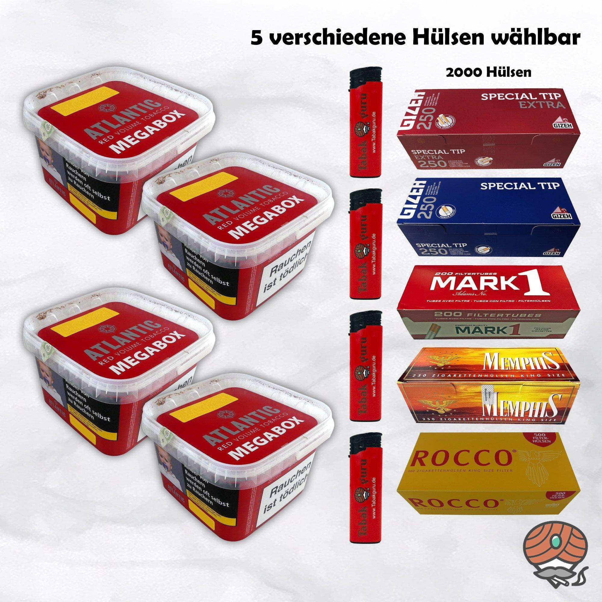 4 x ATLANTIC Red Volumentabak Megabox 200 g + 2.000 Hülsen wählbar - Angebot ohne Hülsen