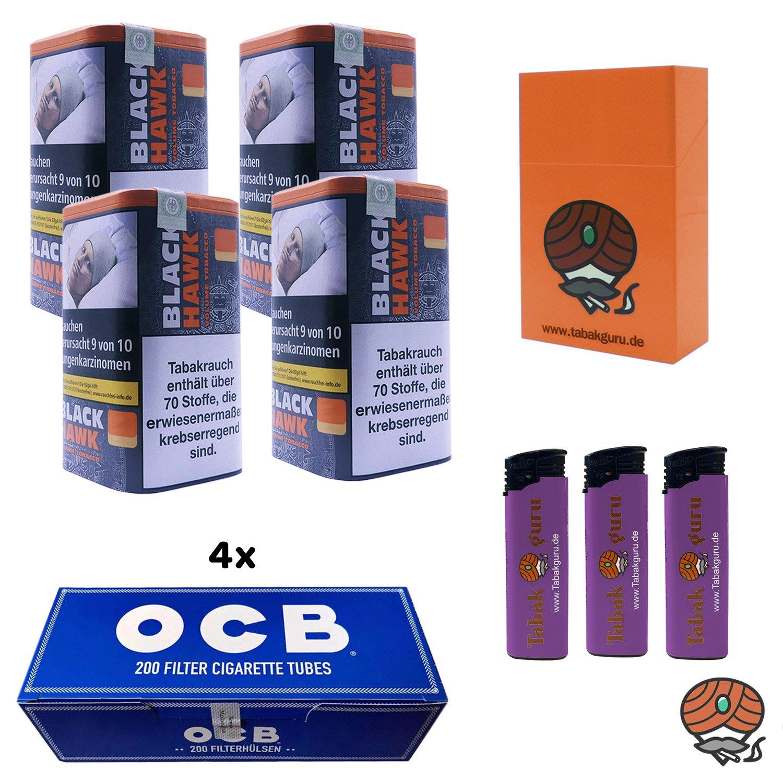 4 x Black Hawk Volumentabak 90 g Dose + 4 x OCB Filterhülsen + mehr