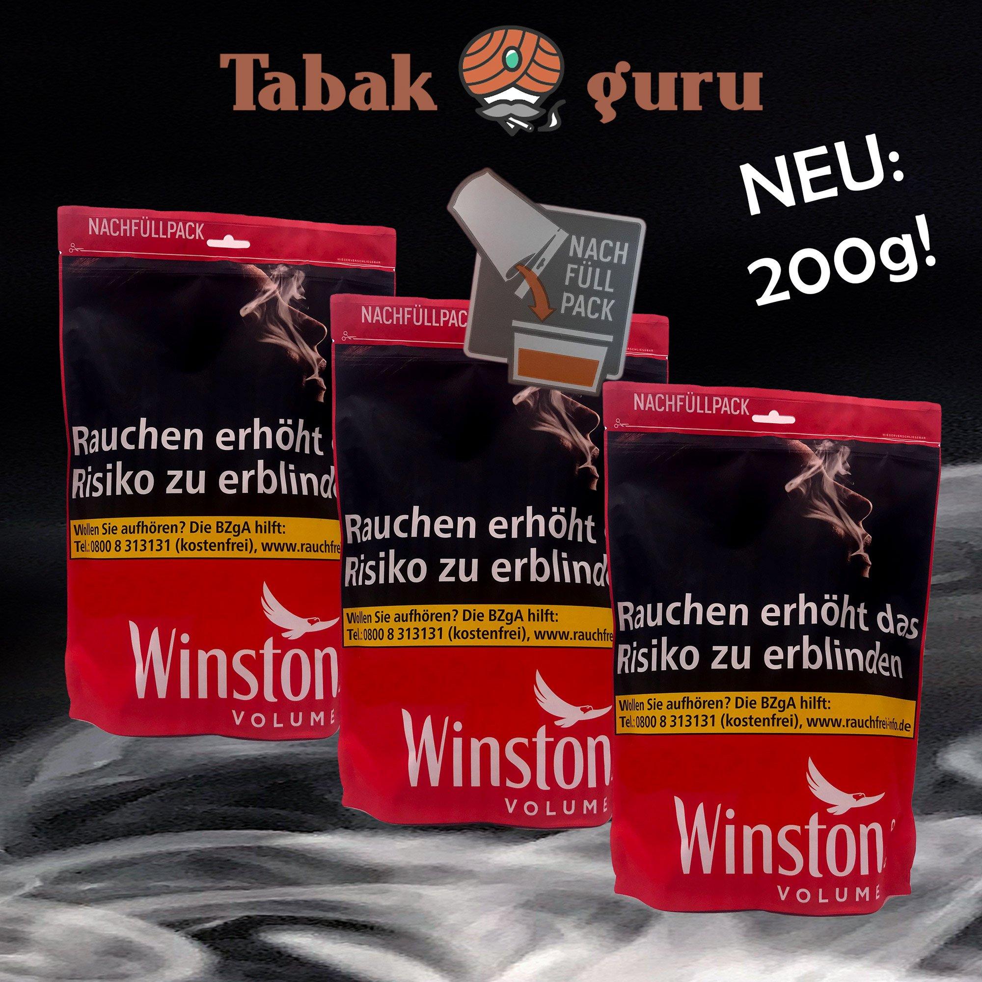 3 x Winston Volume Red Tabak Nachfüllpack 200g Beutel