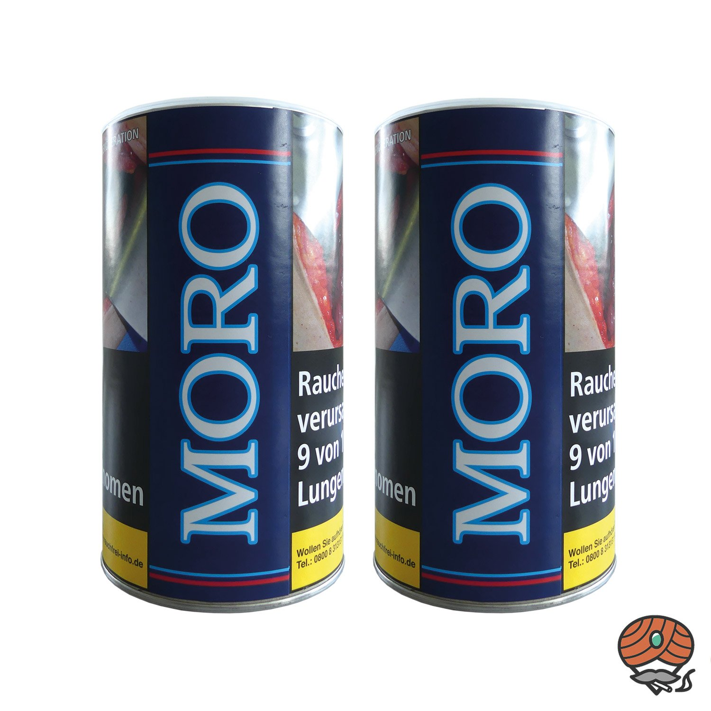 2 x Moro Blau Halfzware Shag Dose Feinschnitt, Dreh-/ Stopftabak 200 g Dose