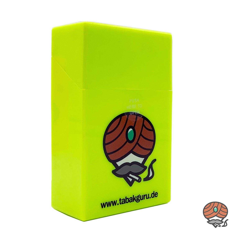 Atomic Sprungdeckel Zigarettenbox Neon-Gelb Tabakguru Motiv