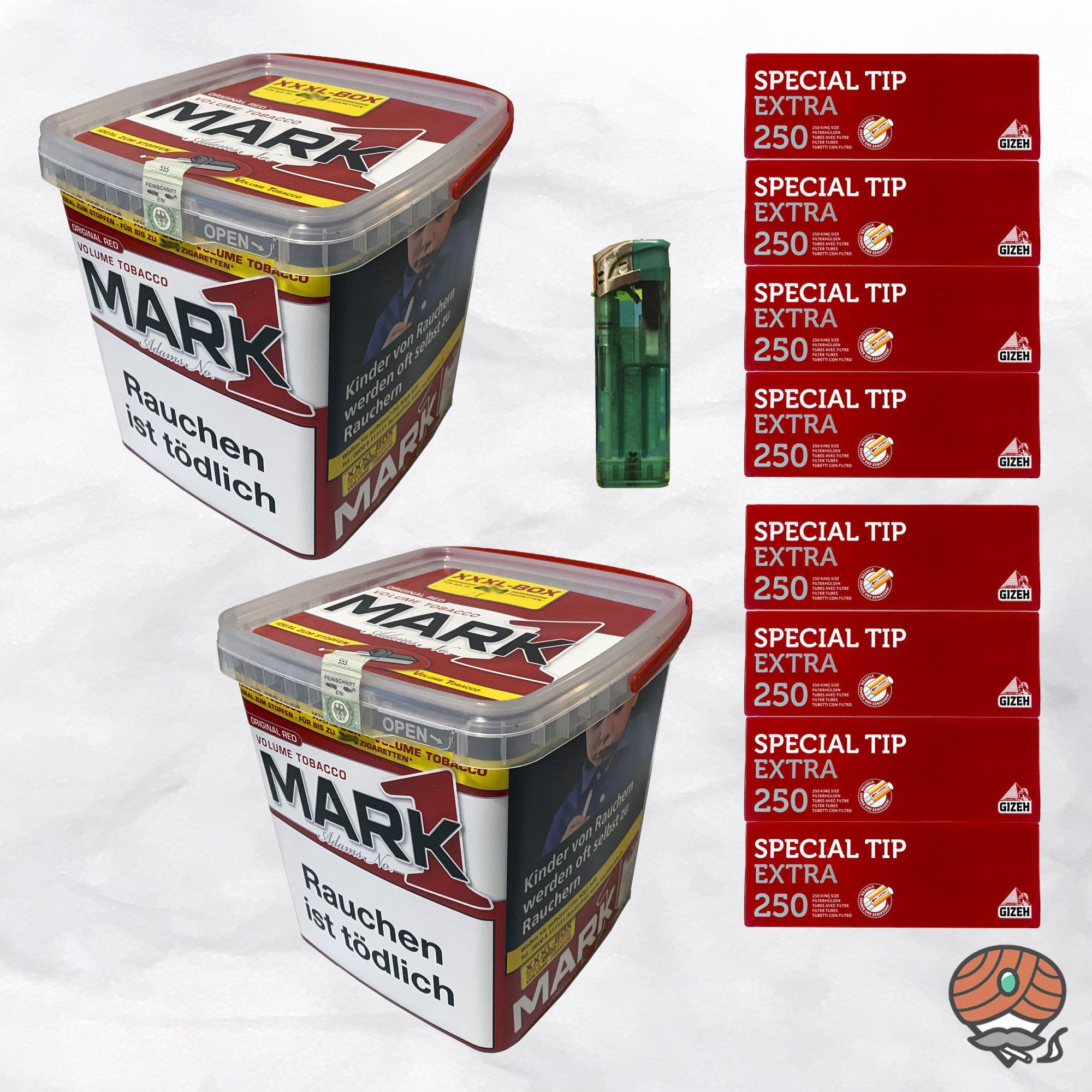 2x Mark Adams No. 1 Volumentabak 400g XXXL-Box, Extra Hülsen, Feuerzeug