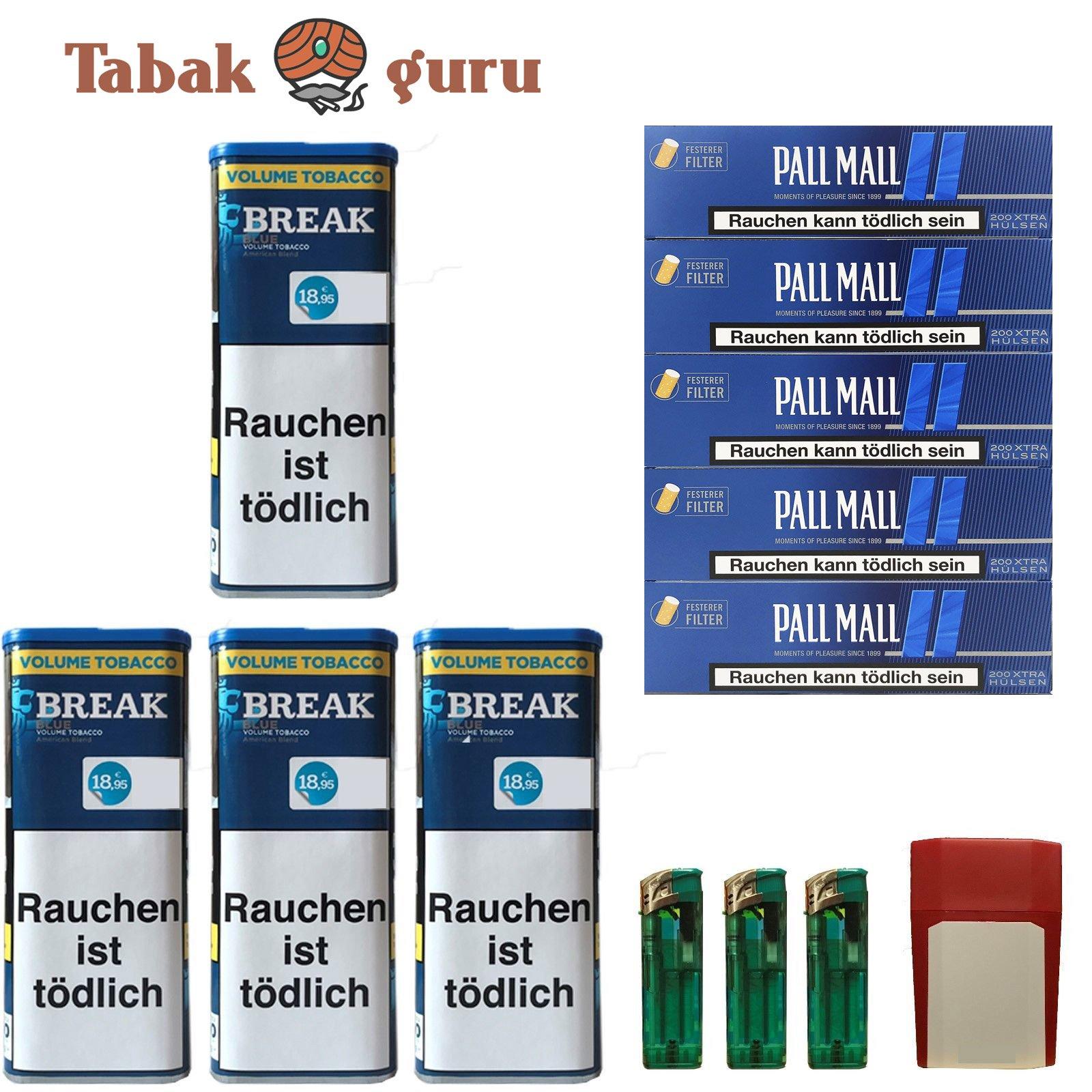 4x Break Blue/Blau XXL Volumentabak 120g, Pall Mall Extra Hülsen, Feuerz., Box