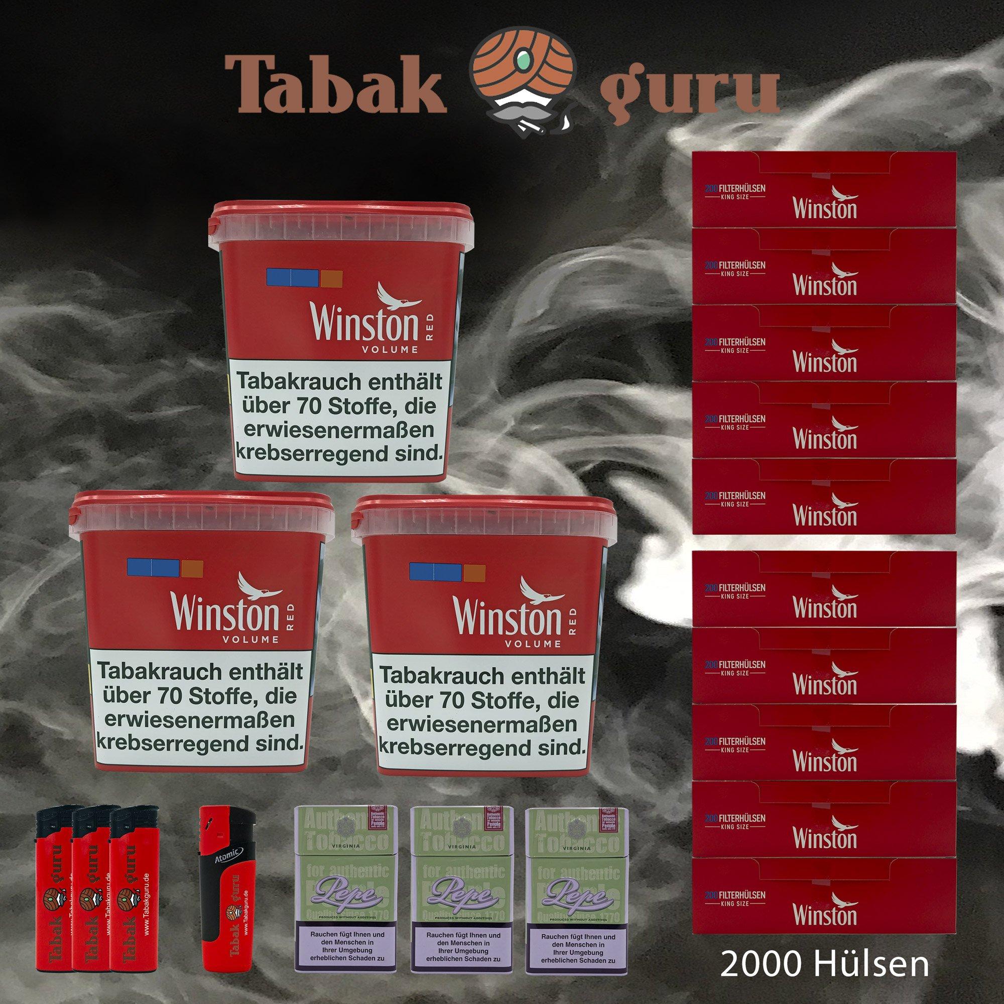 3x Winston Classic Red/Rot Giant Box 280g Volumentabak, 2000 Hülsen, Zubehör