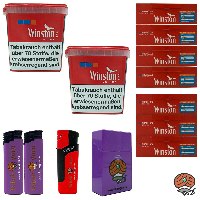 2x Winston Classic Red/Rot Giant Box 260g Volumentabak, 1750 Extra Hülsen, Zubehör