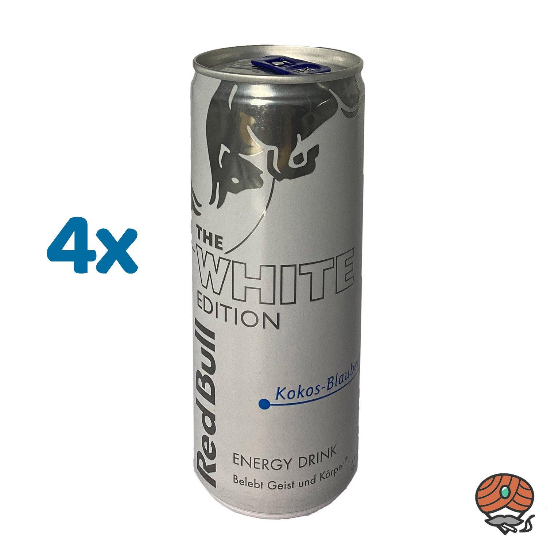 4 x Red Bull Energy Drink THE WHITE EDITION, Kokos-Blaubeere, 250 ml Dose