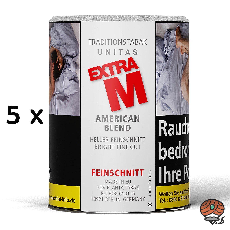 5x Extra M Feinschnitttabak Dose à 95g