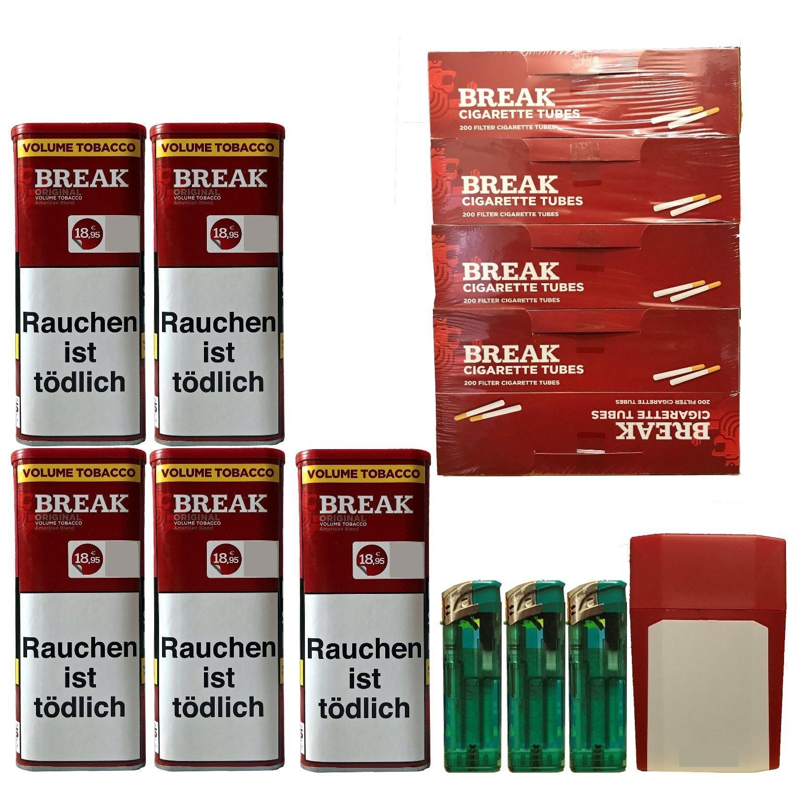 5x Break Original XXL Tabak 120g Dosen Volumentabak, Hülsen, Feuerz., Box