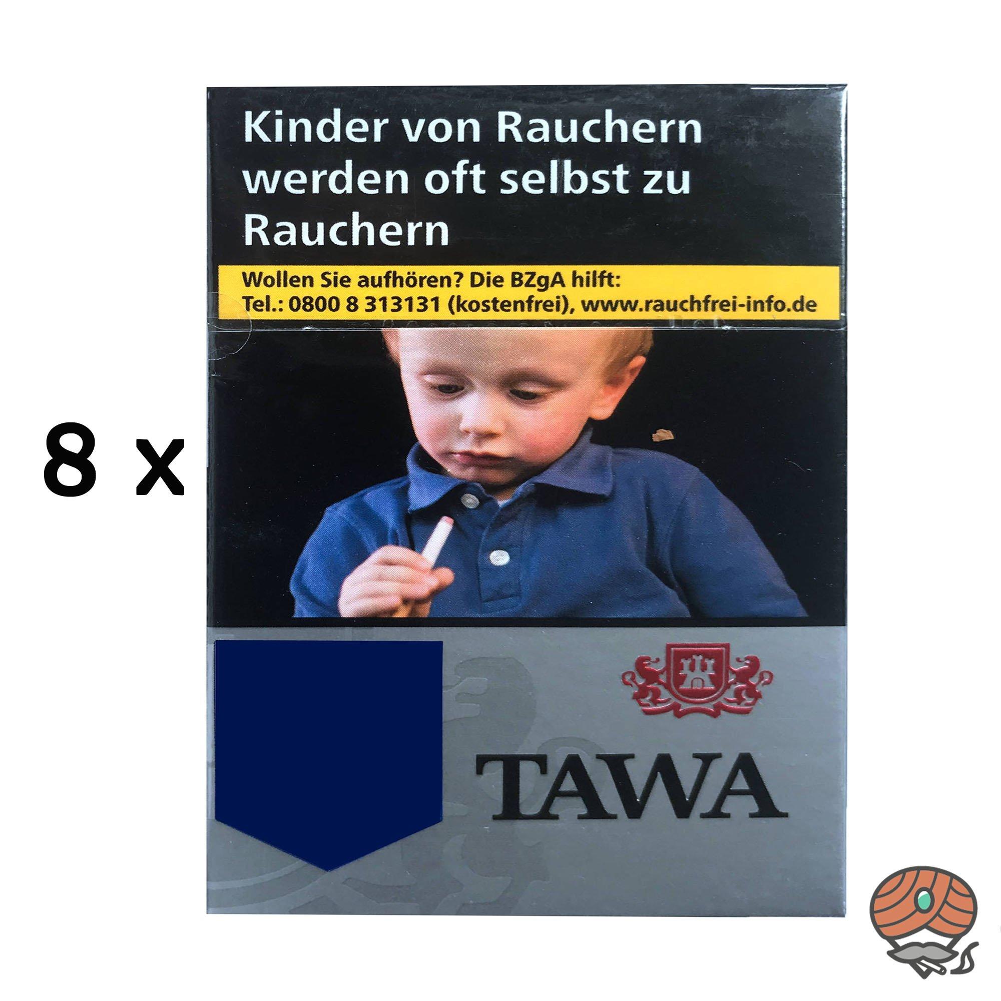Tawa Silver / Silber XXL-Box Zigaretten - 8x28 Stück = 1 Stange