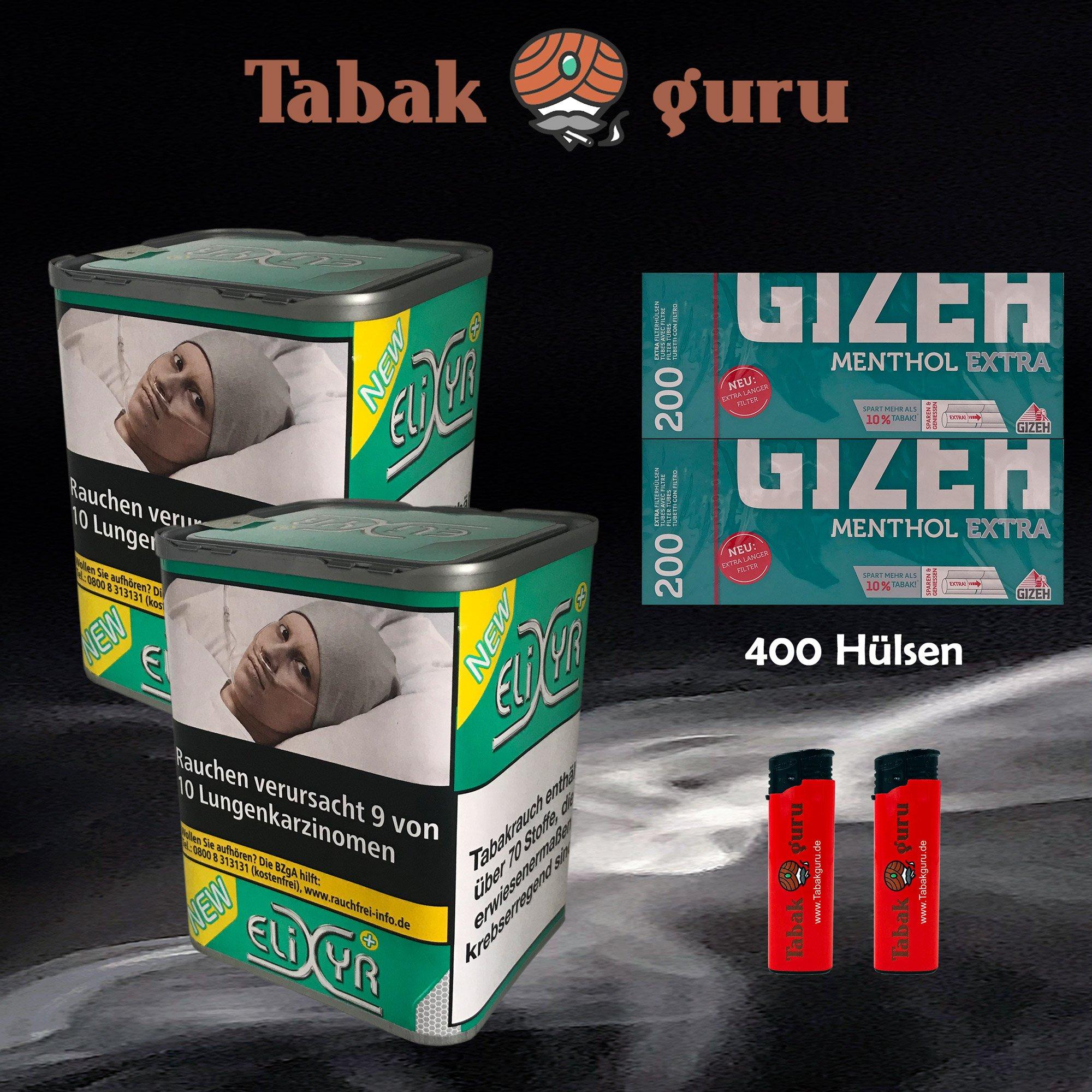 2 x Elixyr PLUS Tabak 115g Zigarettentabak + Gizeh Menthol Extra Hülsen + Feuerzeuge
