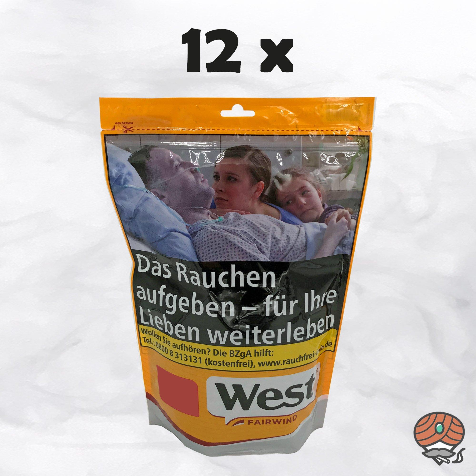 12x West Yellow Players Red 121g Tabak / Volumentabak Jumbo Beutel