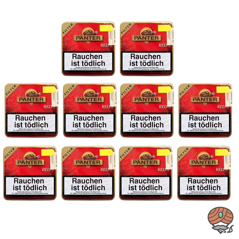 10 Dosen Panter Red / Vanilla Filter Zigarillos á 20 Stück