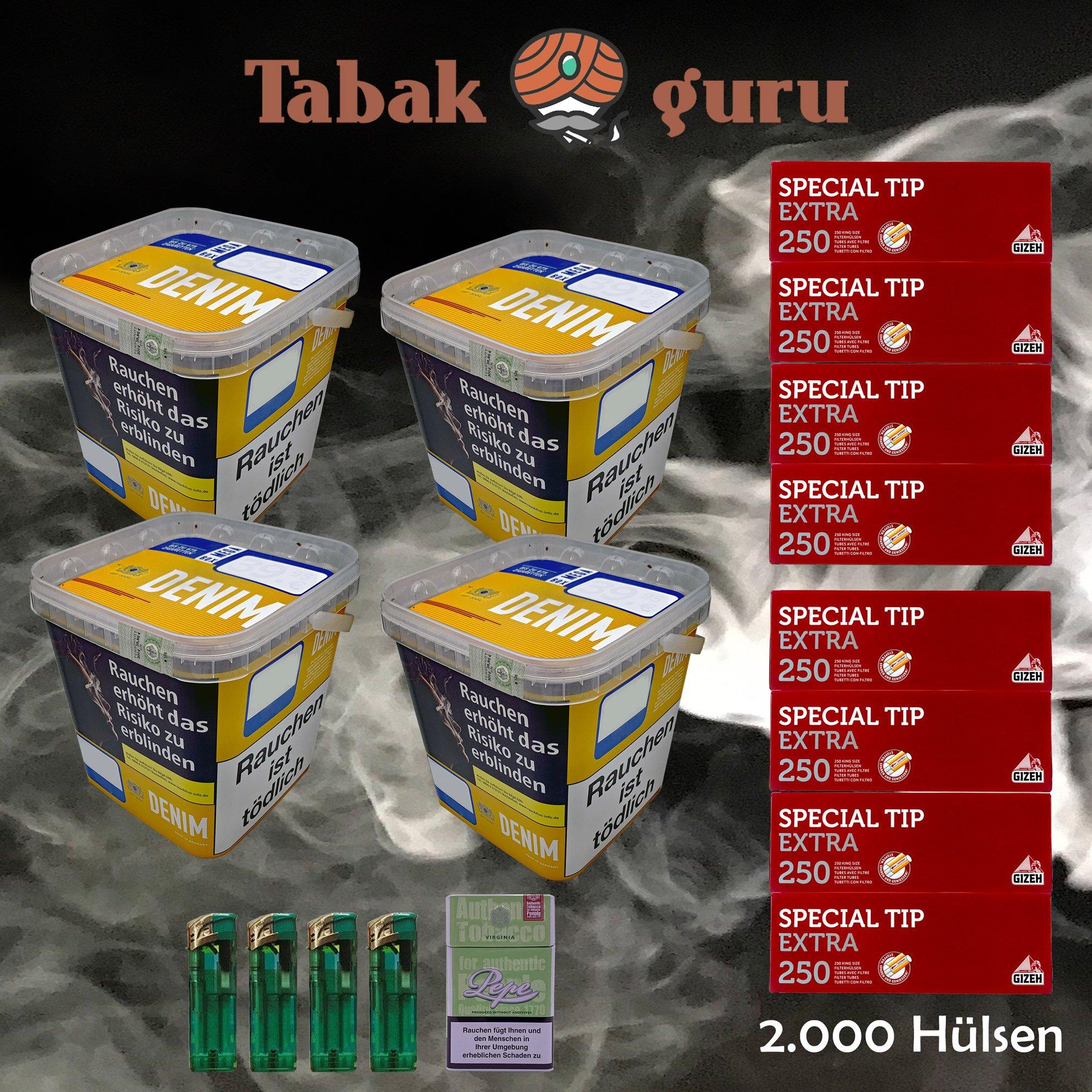 4 x Denim Mega Box Volumentabak 290g Eimer + 2000 Gizeh Extra Hülsen + Zubehör