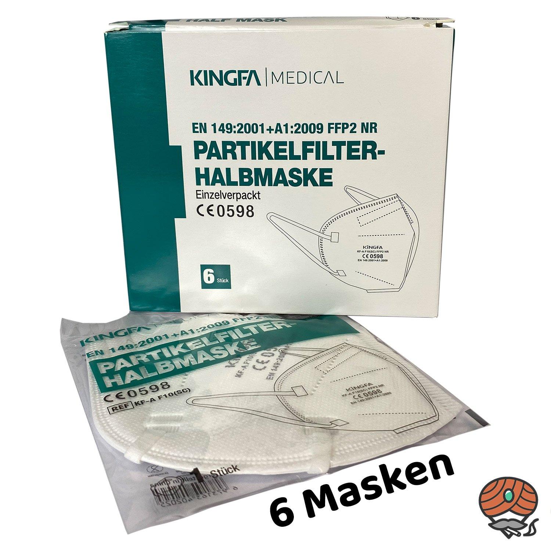 6 Kingfa FFP2-Masken, CE 0598 zertifiziert, Partikelfilter-Halbmaske FFP2