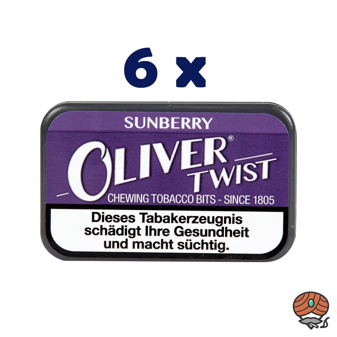 6 x Oliver Twist SUNBERRY Tabakpastillen, Kautabak, Chewing Bits