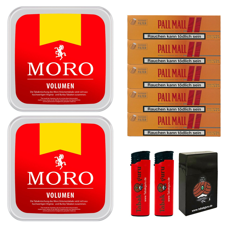 2 x Moro Rot Volumentabak 225 g Box + 1000 Pall Mall Allround Hülsen + Zubehör