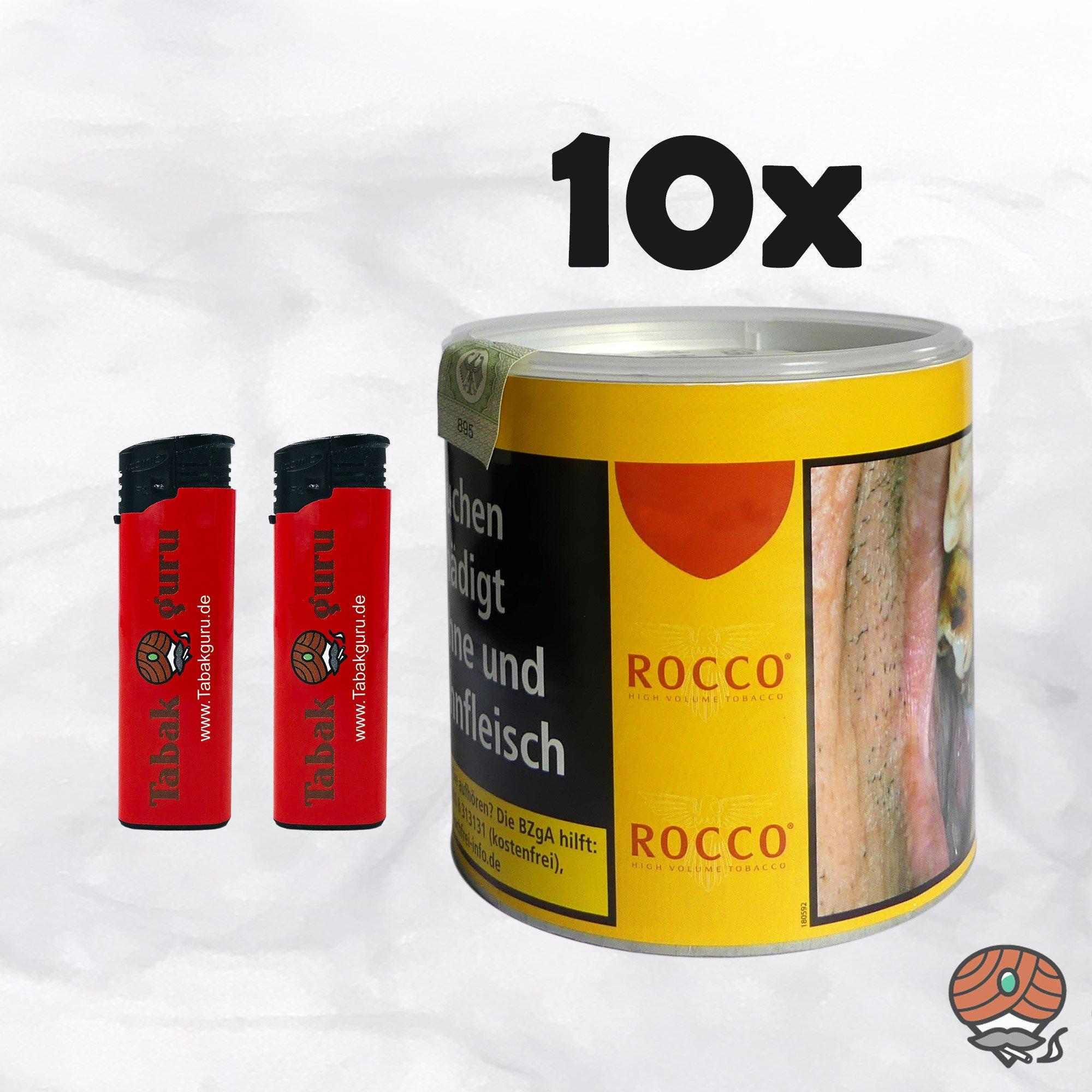 10 x ROCCO Tabak / Volumentabak Gelb Dose 35 g + Feuerzeuge