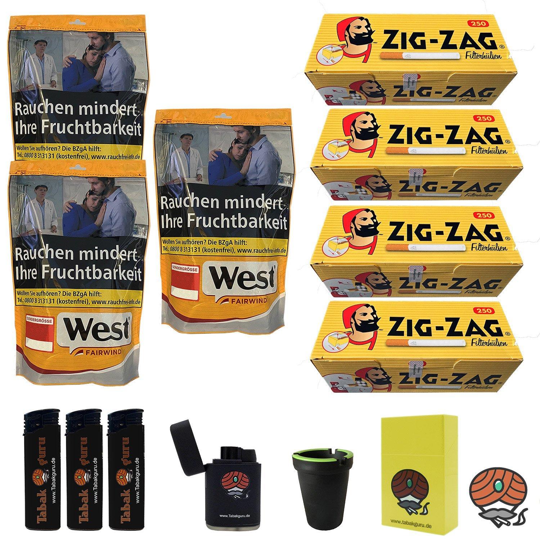 3 x West Yellow 200 g Volumentabak Beutel + 1000 Zig-Zag Hülsen + Zubehör