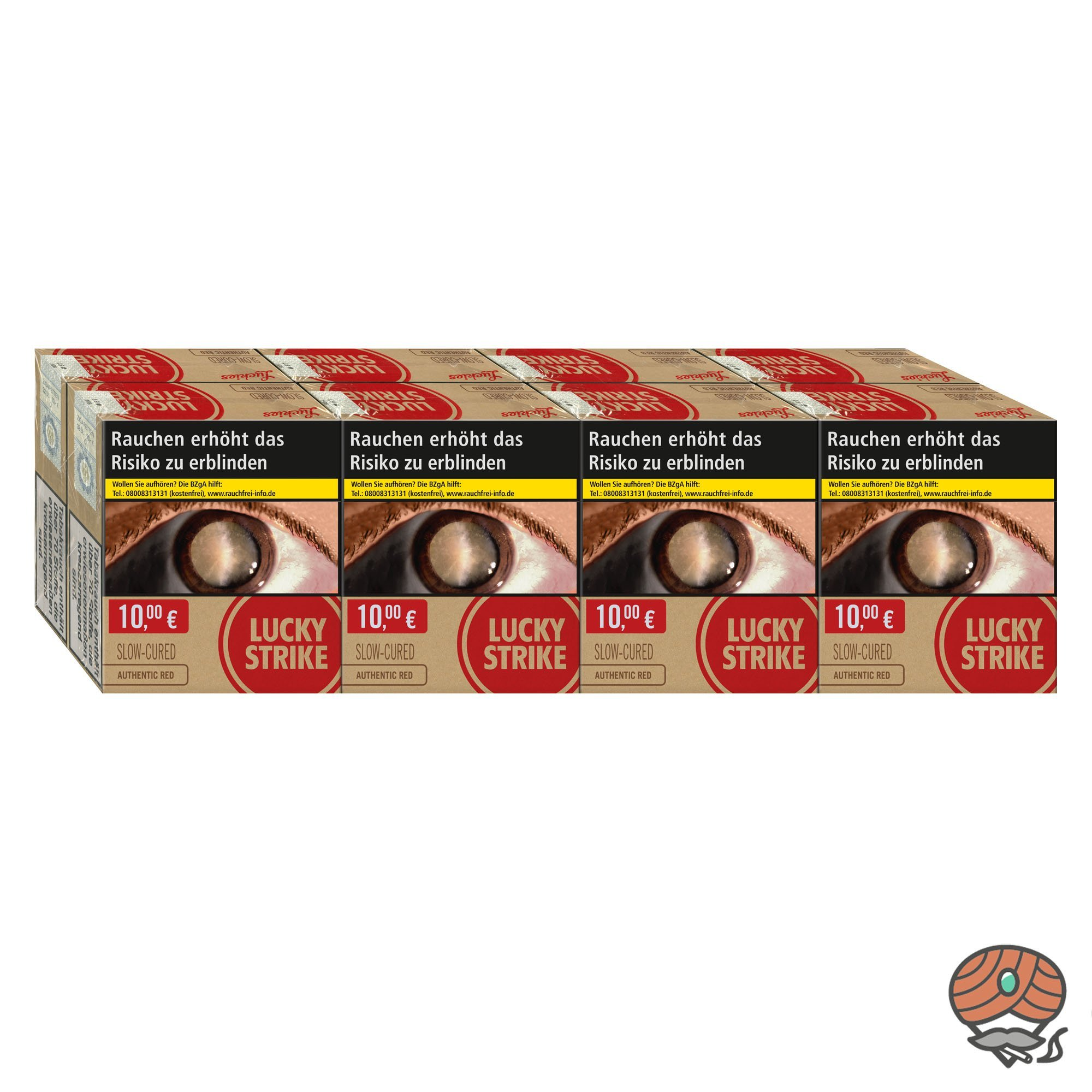 8 x Lucky Strike Authentic Red Giga Box Zigaretten à 32 Stück
