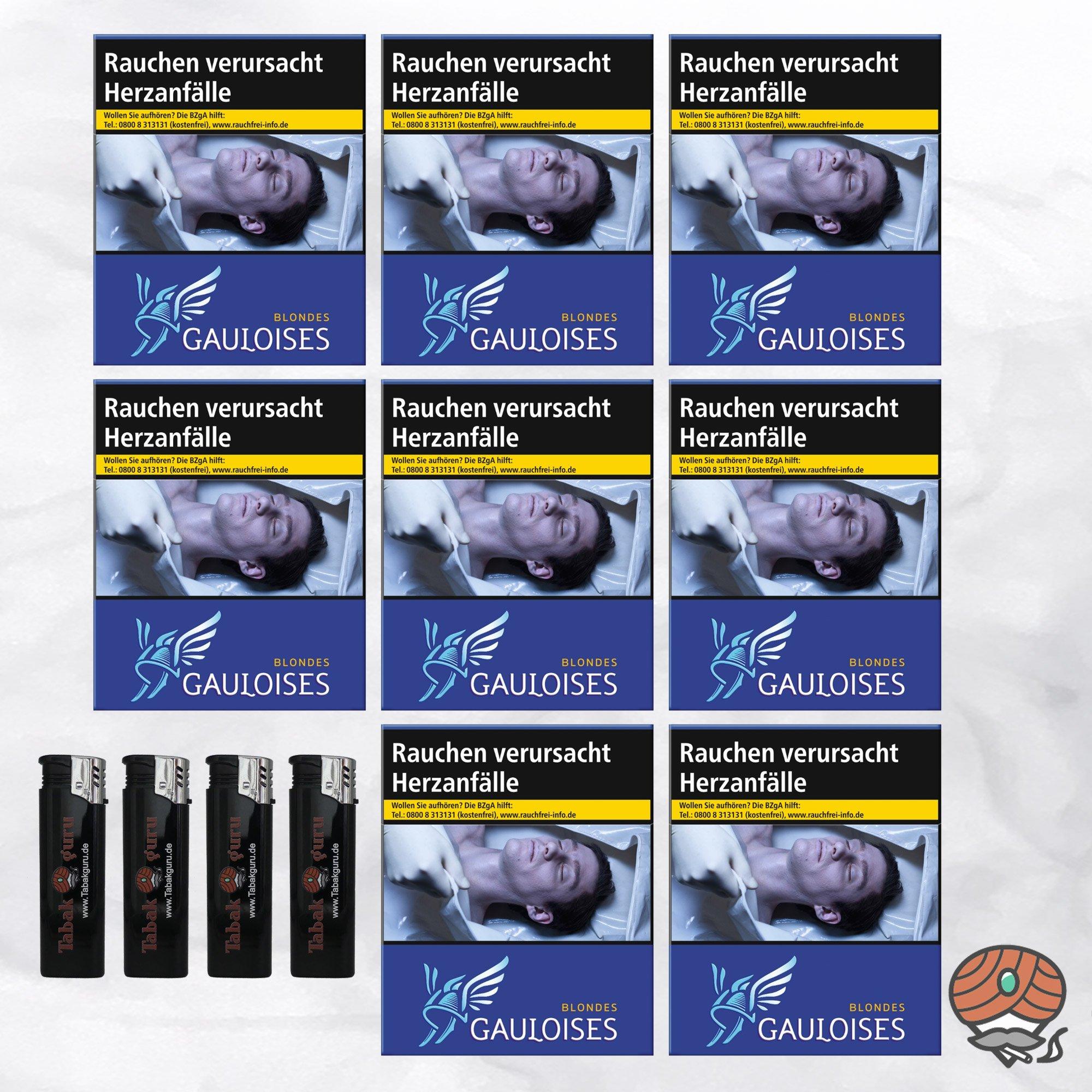 8 x Gauloises Blondes Blau XXXL Zigaretten à 31 Stück + 4 Feuerzeuge