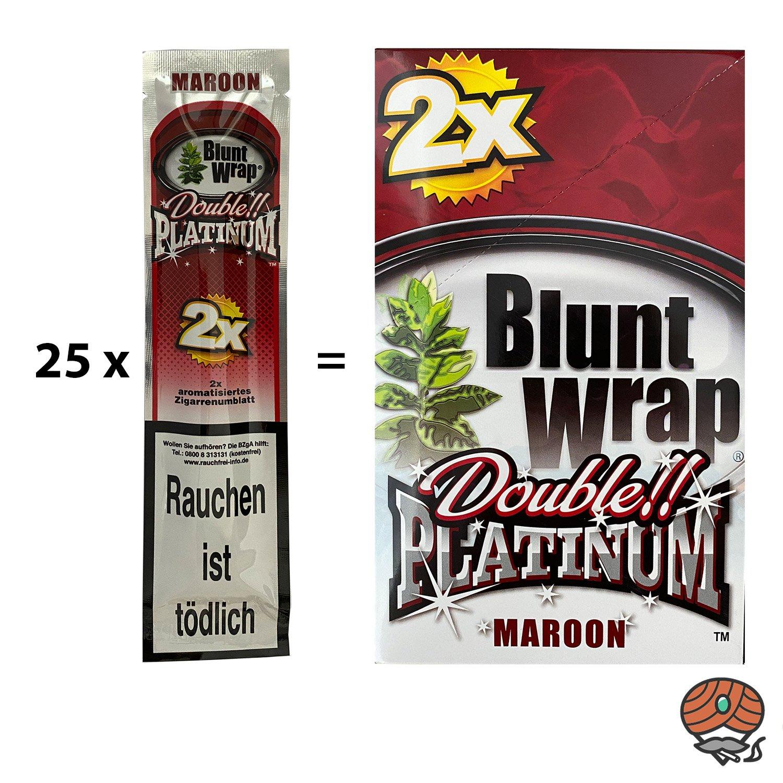 25 x Blunt Wrap MAROON (Kirsche) - Paperersatz aus echten Tabakblättern
