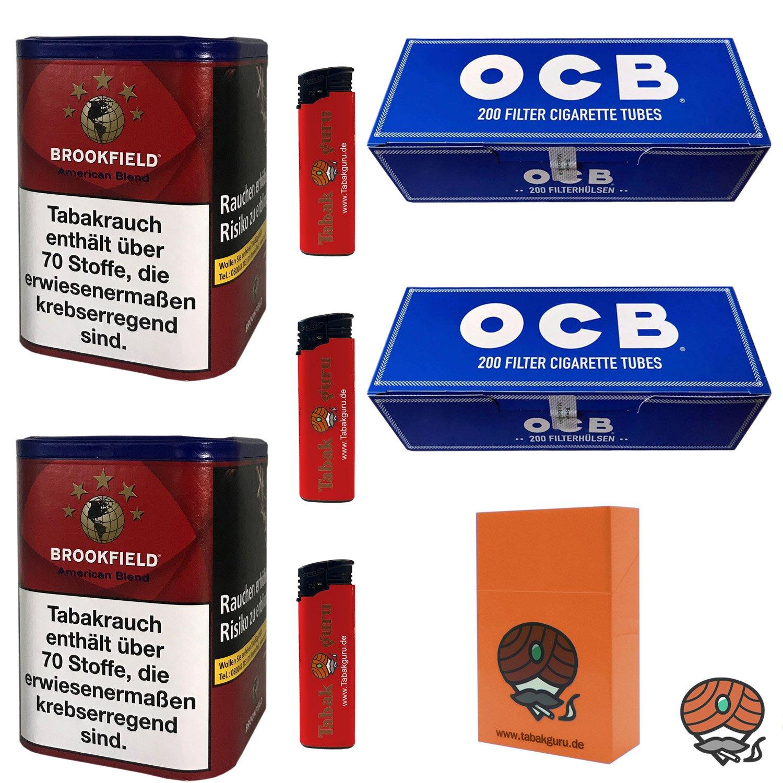 2 x Brookfield American Blend Tabak 120 g Dose + 2 x OCB Hülsen + mehr