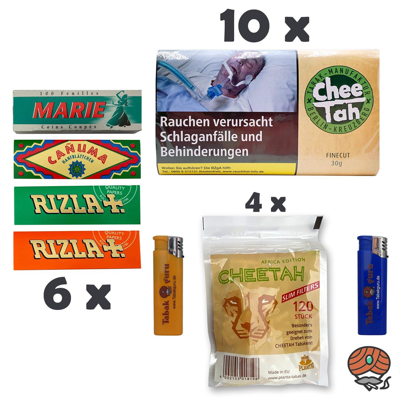 10 x Chee Tah Grün Drehtabak Pouch, 6 x Papers, 4 x Slim Filter