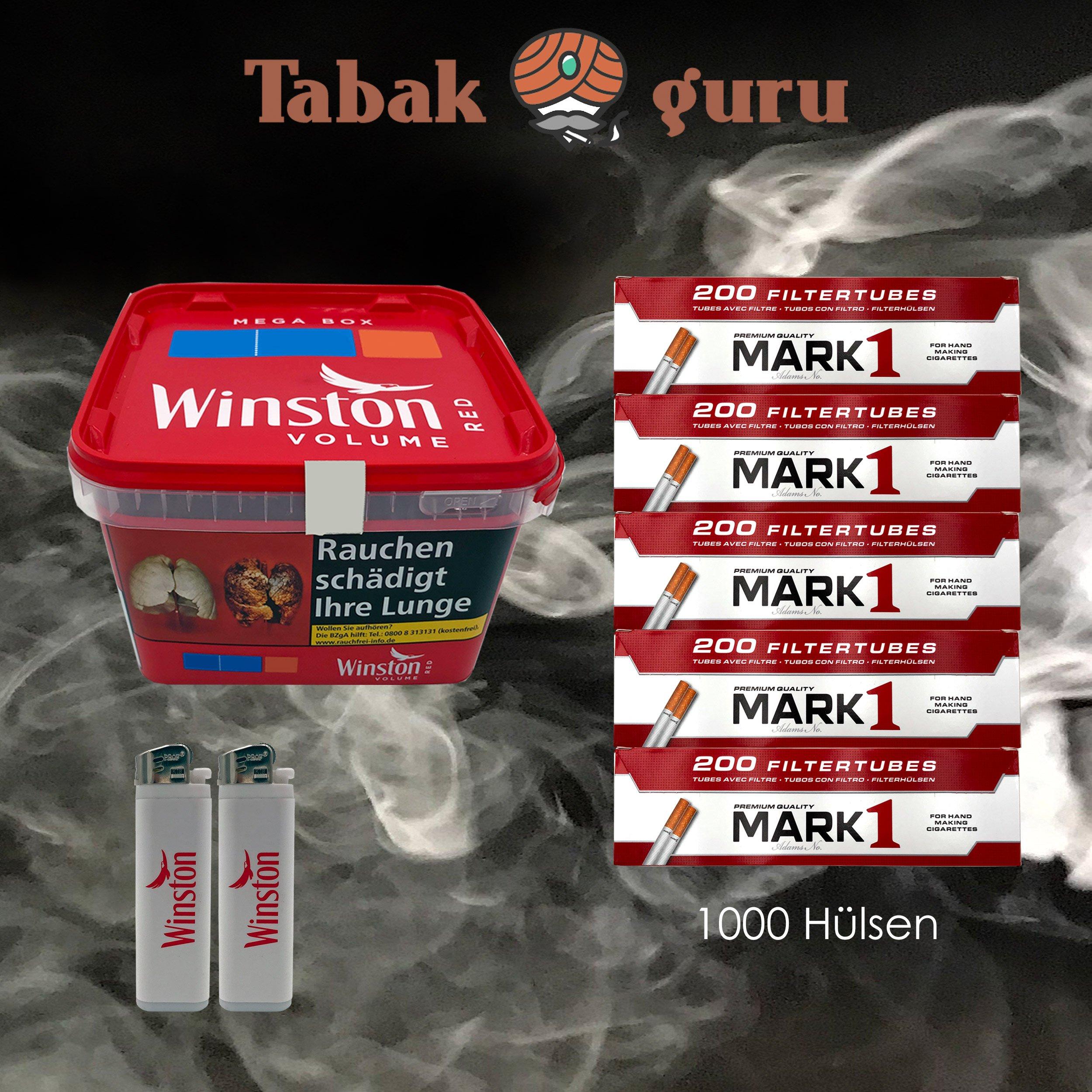 1x Winston Classic Red / Rot Mega Box 170g Volumentabak, 1000 Mark1 Hülsen