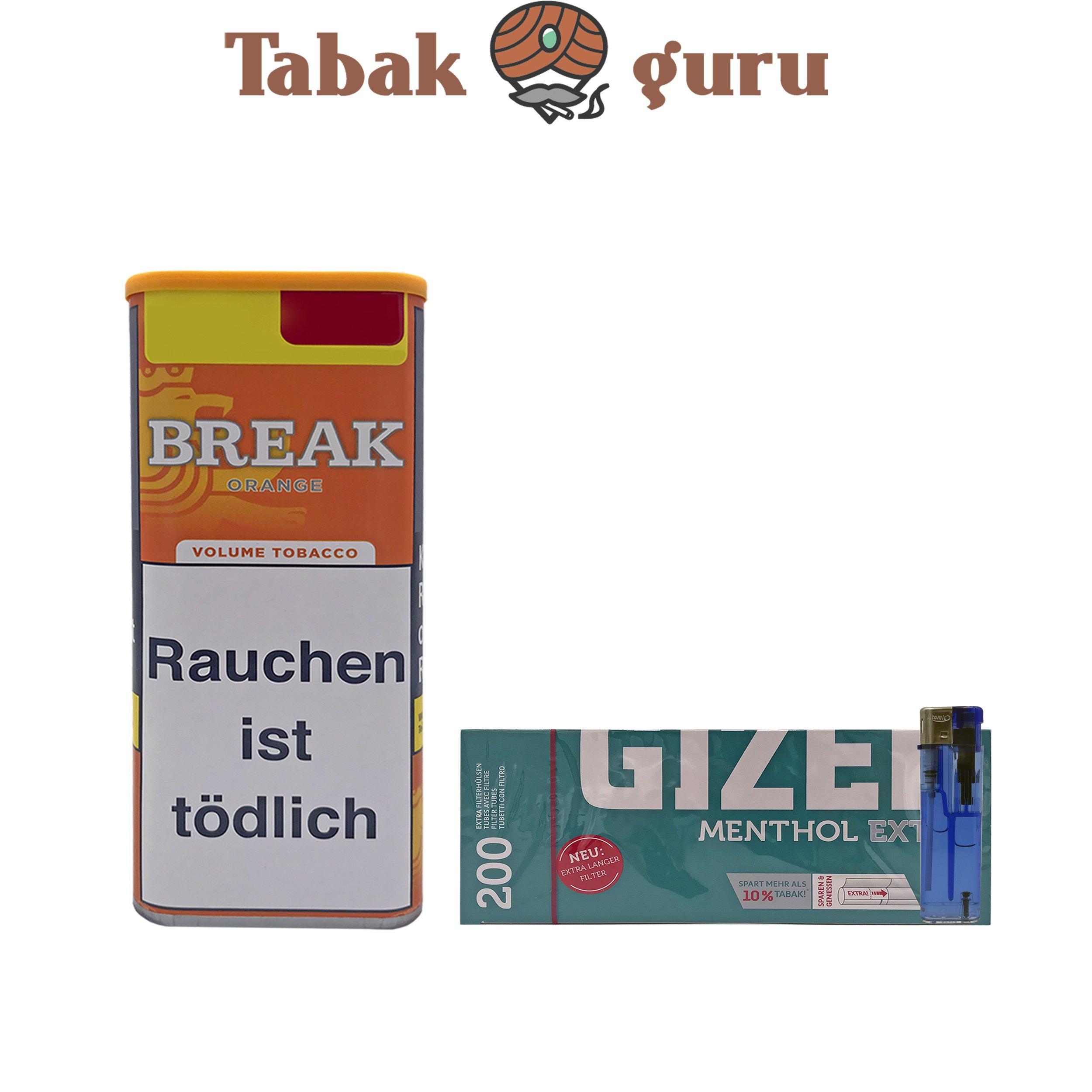 1x Break Orange 110g Dose Volumentabak + 200 Gizeh Menthol Extra Hülsen + 1 Feuerzeug