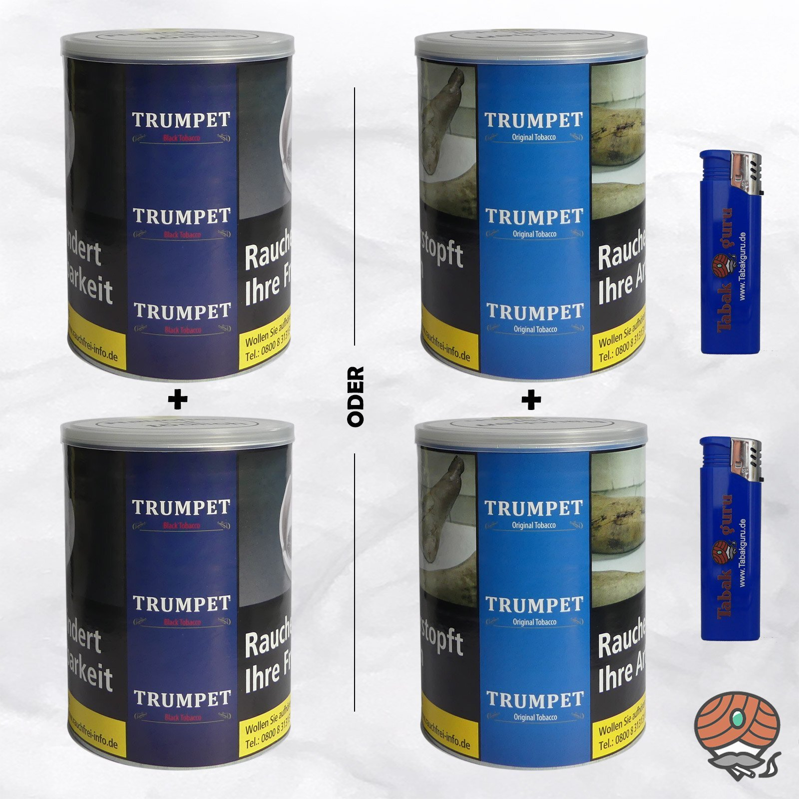 2 x Trumpet ORIGINAL oder BLACK Tobacco Drehtabak à 130 g Dose wählbar - 2 Dosen ORIGINAL