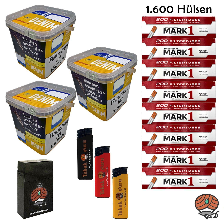 3 x Denim Mega Box Volumentabak 290g Eimer + 1.600 Mark1 Hülsen + Zubehör