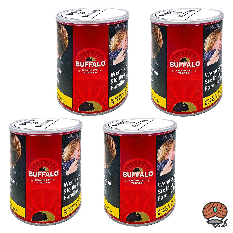 4x Buffalo Red / Rot Feinschnitt Zigarettentabak / Drehtabak 150g Dose
