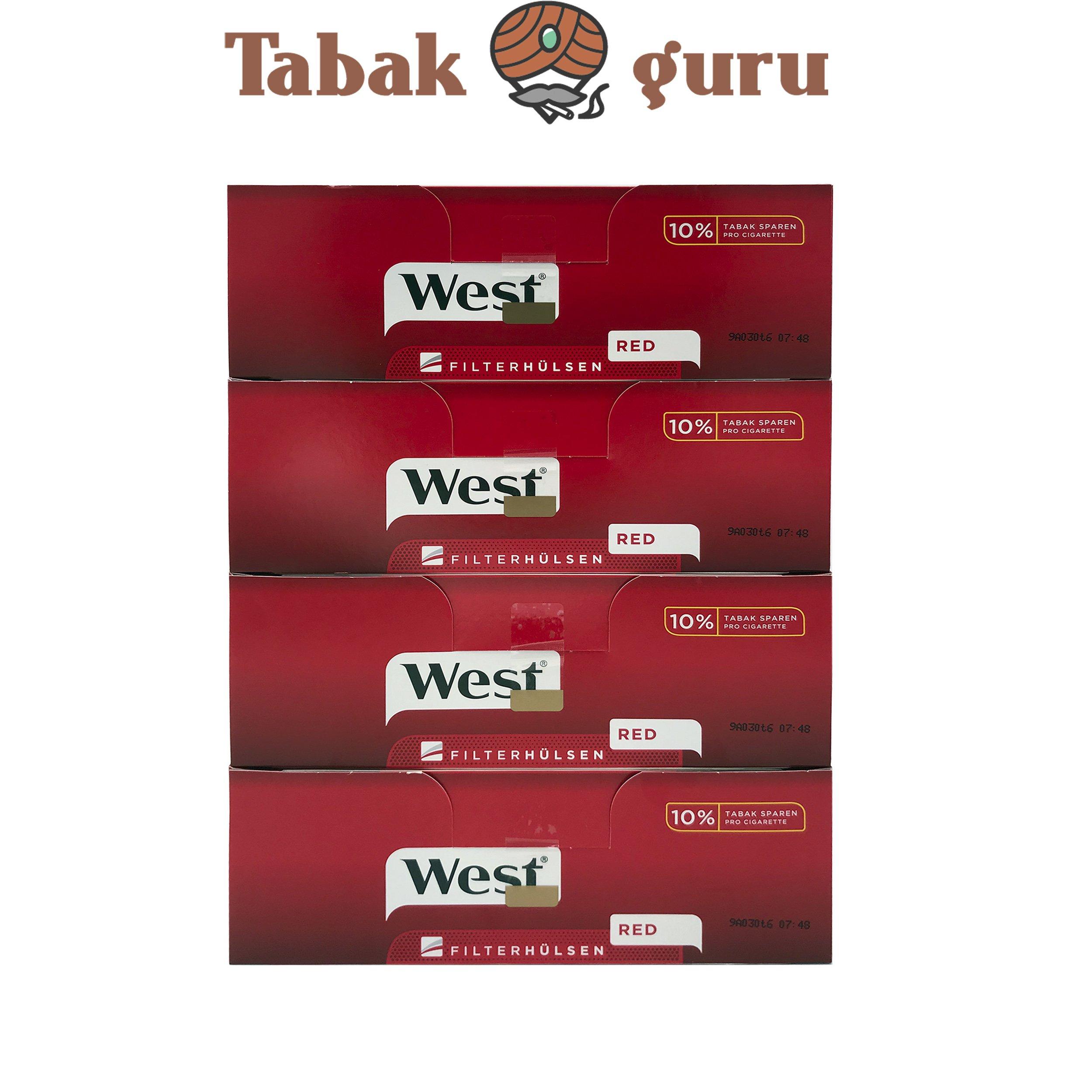 1.000 West Rot Extra Filterhülsen = 4 Pack à 250 Stück