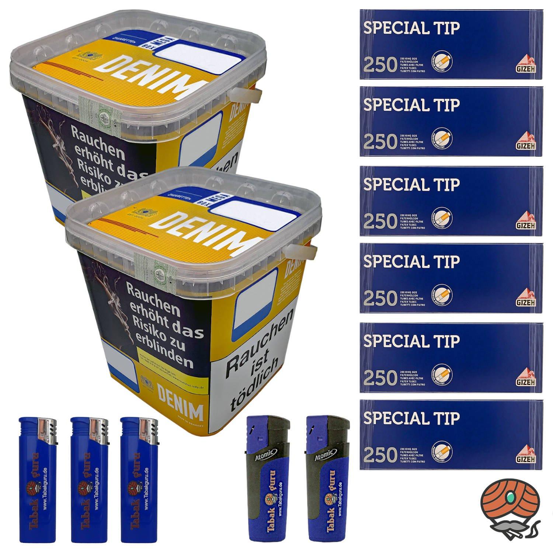 2 x Denim Mega Box Volumentabak 290g Eimer + 1.500 Gizeh Special Tip Hülsen + Zubehör