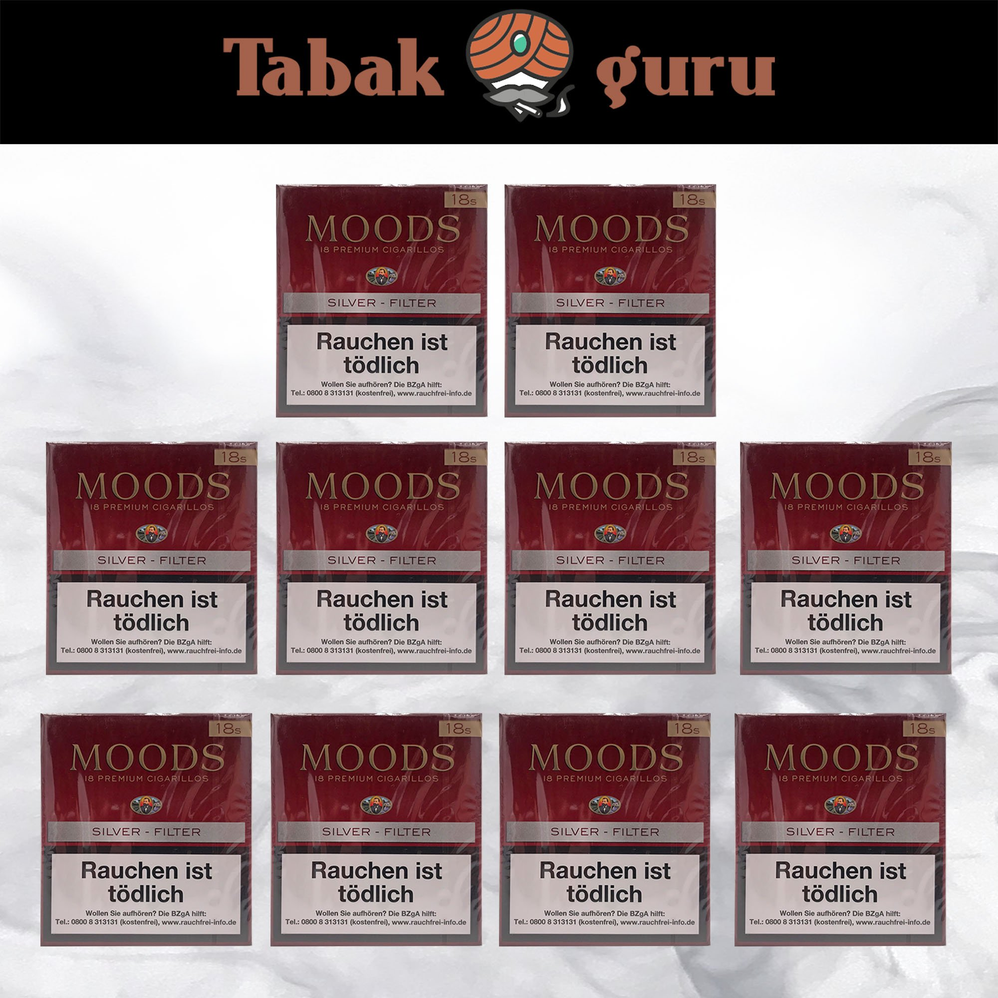 10 x Moods Silver Filterzigarillos à 18 Stück