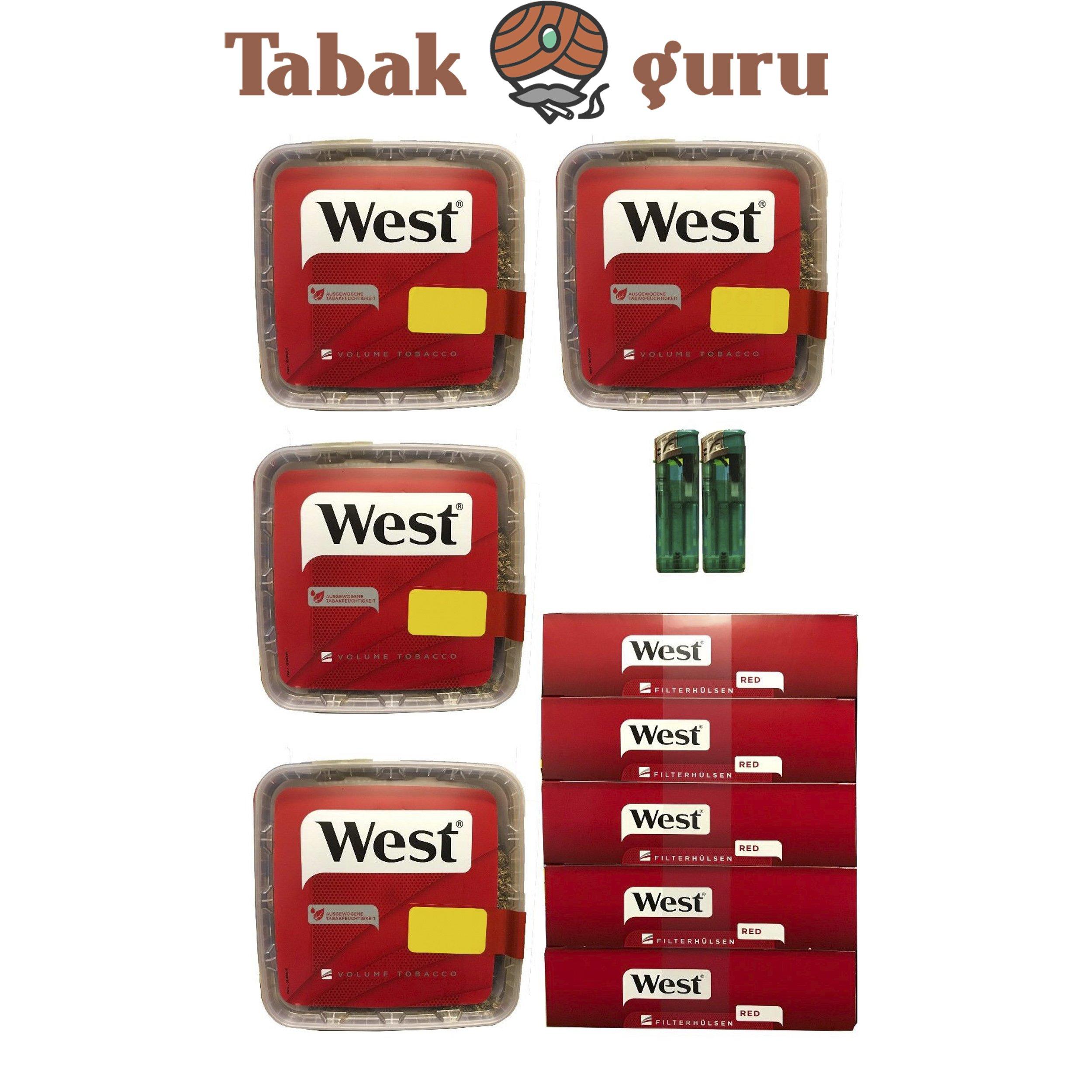 4x WEST 170g Volumentabak, 1000 West Hülsen, Feuerzeuge