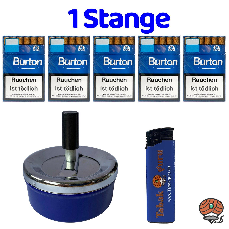 1 Stange Burton Blau Filter Zigarillos (17 Stück / Schachtel) + Zubehör