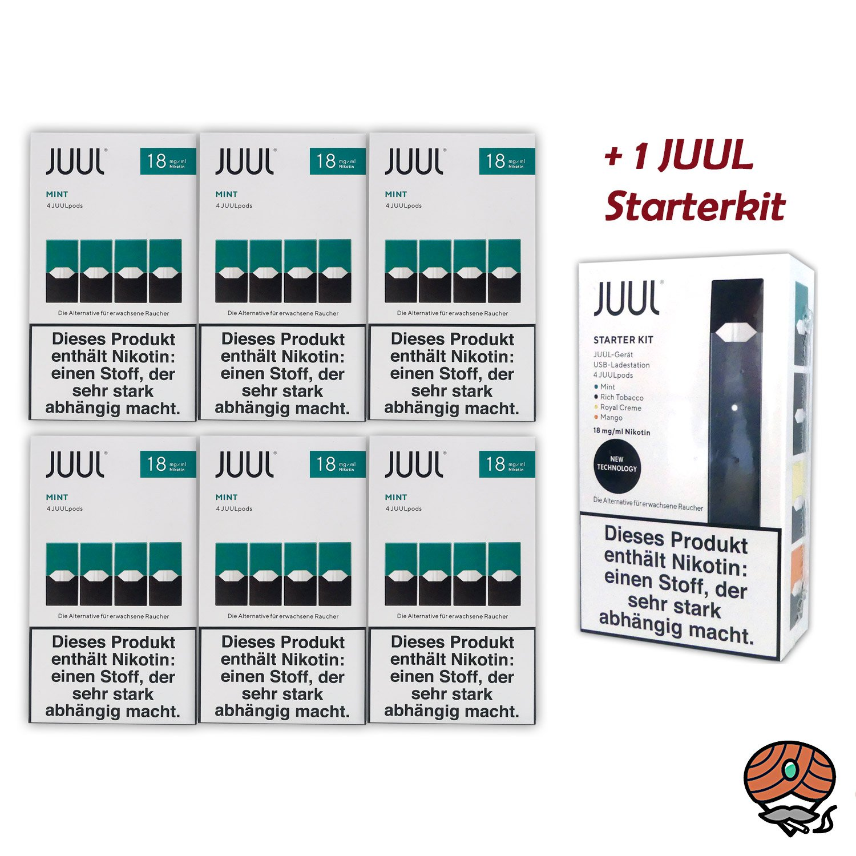 JUUL 6 Packungen Mint Pods à 4 Pods 18mg/ml + 1 JUUL Starterkit