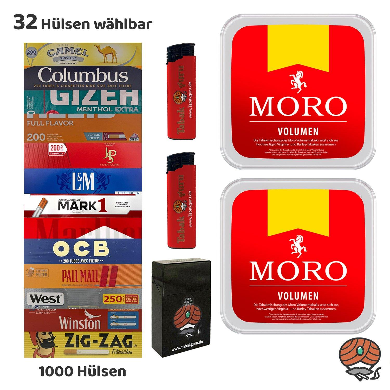 2 x Moro Rot Volumentabak à 225 g + 1000 Hülsen WÄHLBAR + Zubehör