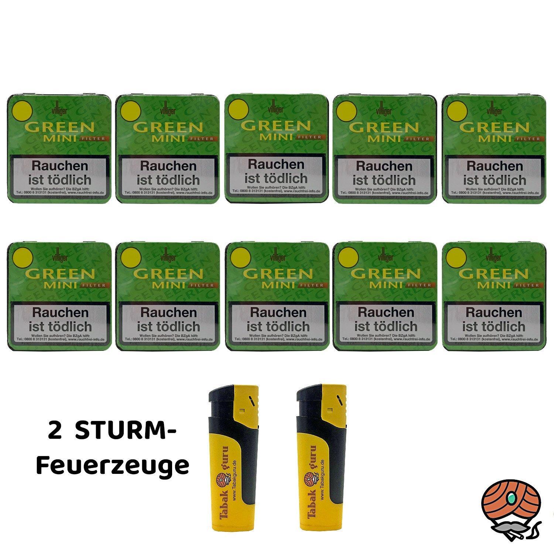 10 x Villiger Green Mini Filterzigarillos à 20 Stück + 2 Sturmfeuerzeuge
