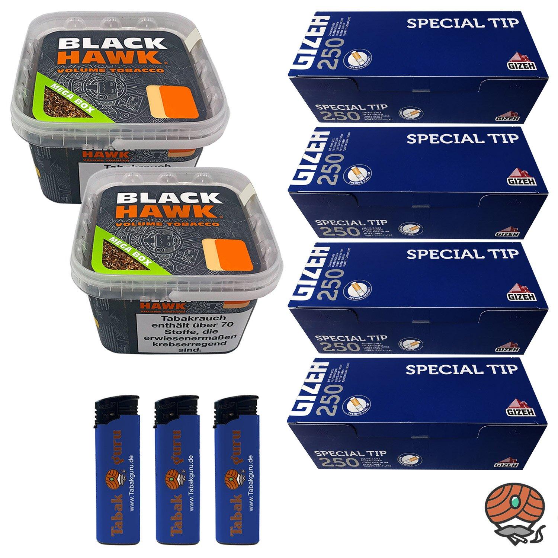 2 x Black Hawk Volumentabak 230 g Mega Box + 4 x Gizeh Special Tip Filterhülsen + mehr