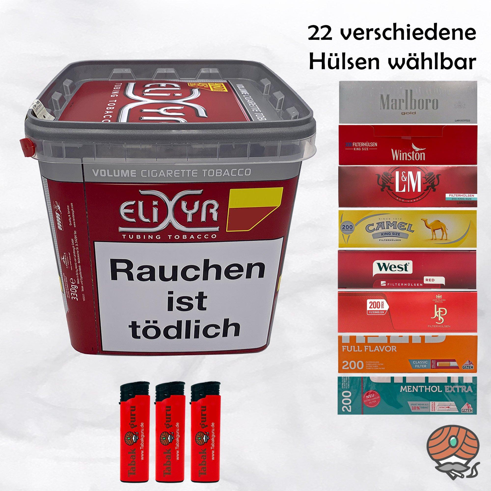 Elixyr Red / Rot Volumentabak 320g + 1000 Hülsen wählbar + Feuerzeuge